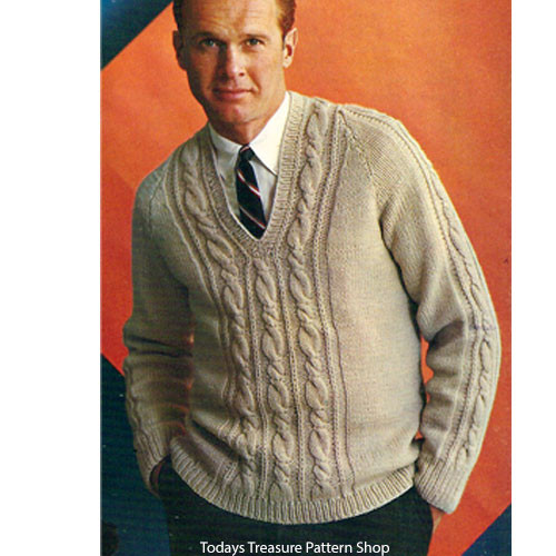 Mens Knitted Raglan Cable Sweater Pattern