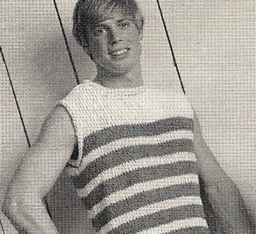 Knitting Pattern, Mans Striped Tank Top
