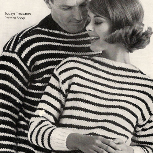 Vintage Matching Striped Sweaters Knitting Pattern