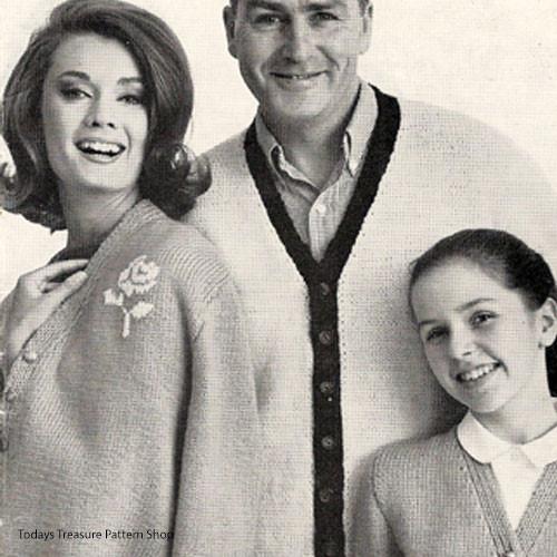 Vintage Knitting Pattern for Family Cardigans