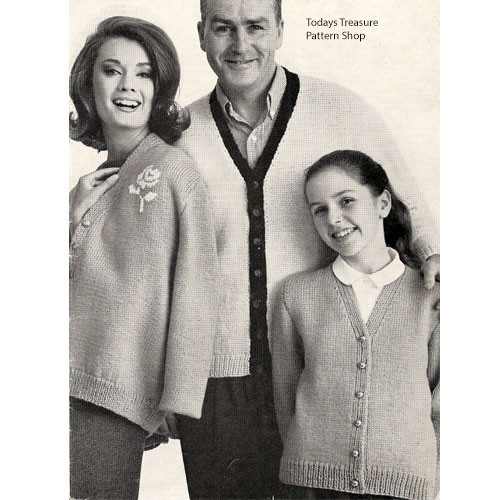 Family Knitted Cardigans Pattern from American Thread
