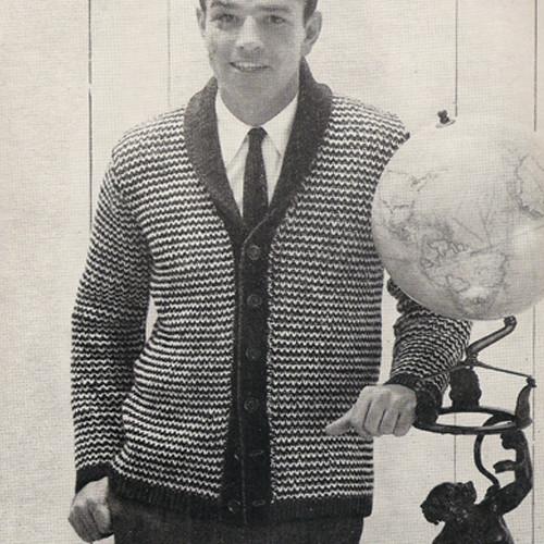 Mans Raglan Checked Cardigan Knitting Pattern