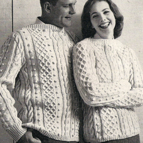 Vintage Matching Fisherman Sweaters Knitting Pattern