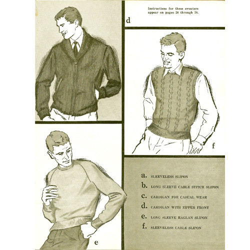 Knitting Pattern Mens Cardigans Vests Pullovers from Columbia Minerva