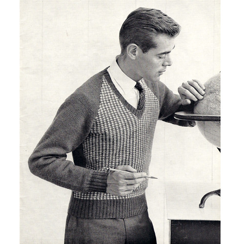 Vintage Knitting Pattern for  Mans Tweed Sweater