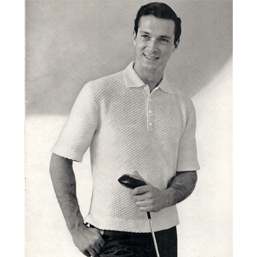 Mans Knitted Polo Shirt Pattern with Short Sleeves