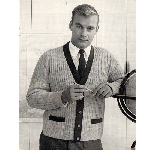 Mans Knitted Cardigan Pattern with Contrast Bands