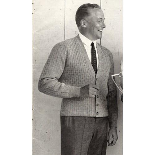 Vintage Mans Cardigan Knitting Pattern from Columbia Minerva