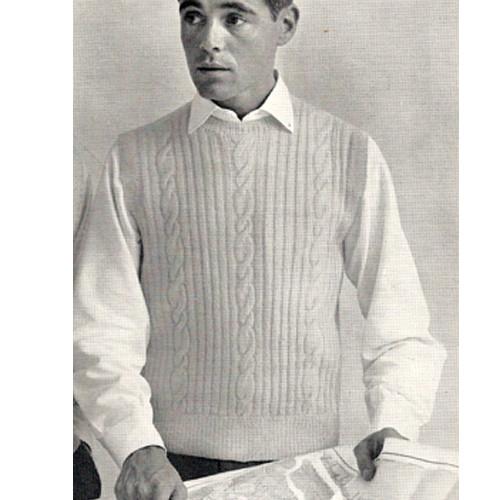 Knitting Pattern for Mans Sleeveless Ribbed Pullover