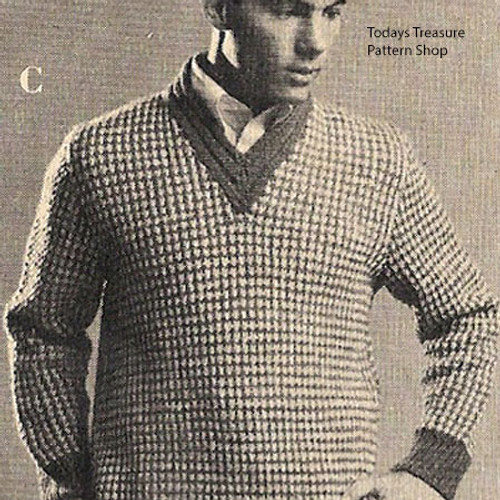 Vintage Mans Knitting Pattern for Checked Pullover