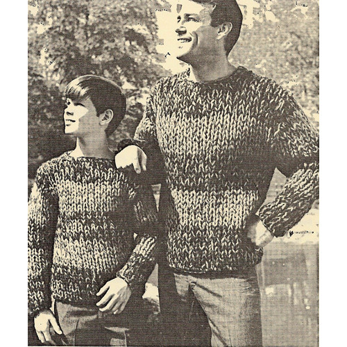 Father Son Striped Sweaters Knitting Pattern on Big Needles