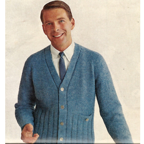 Mans Blue Knitted Cardigan Pattern