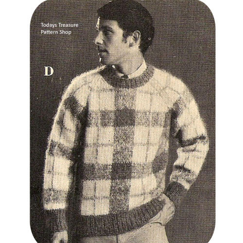 Mans Knitted Plaid Pullover Pattern, Vintage 1960s