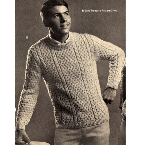 Mans Vintage Knitting Pattern, Cabled Pullover