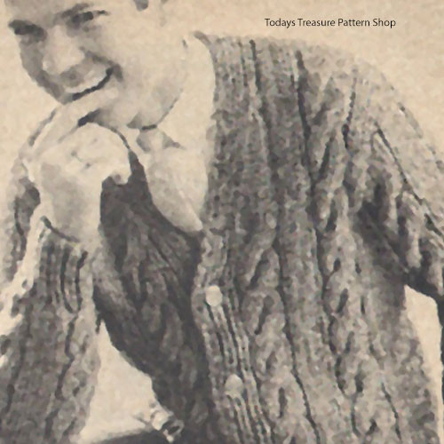 Knitted Cable Panel Cardigan Pattern for Men