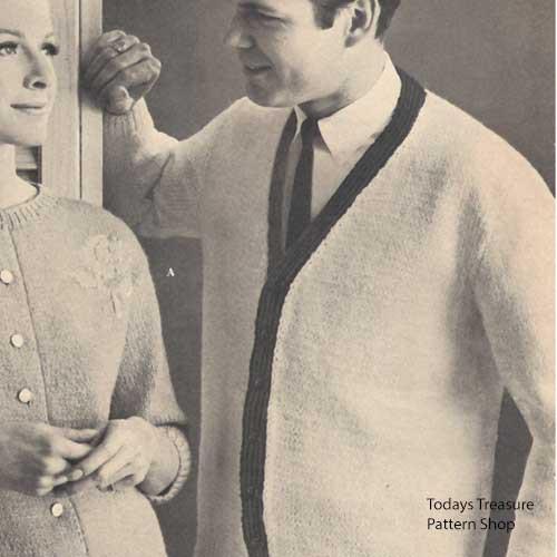 Mans Vintage Knitted Cardigan Pattern