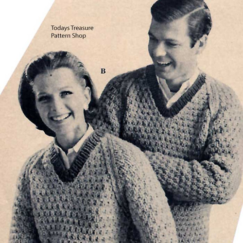Mens Misses V-Neck Knitted Sweaters Pattern
