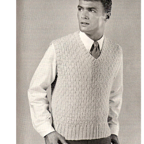 Vintage Knitted Pullover Vest Pattern from Coats & Clarks