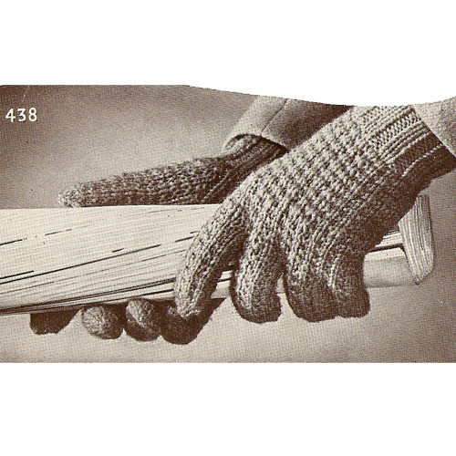 Mans Knitted Gloves Pattern, Vintage 1940s