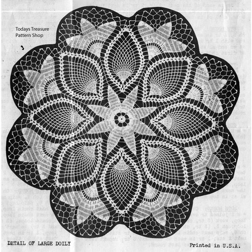 Vintage Tulip Crochet Doily Pattern in Pineapples