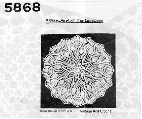 Mail Order Crochet Pineapple Star Doily Pattern No 5868