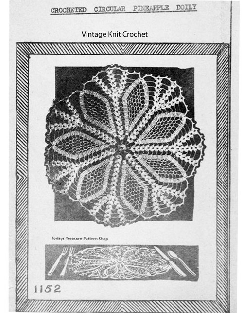 Mail Order Pineapple Doily Pattern 1152