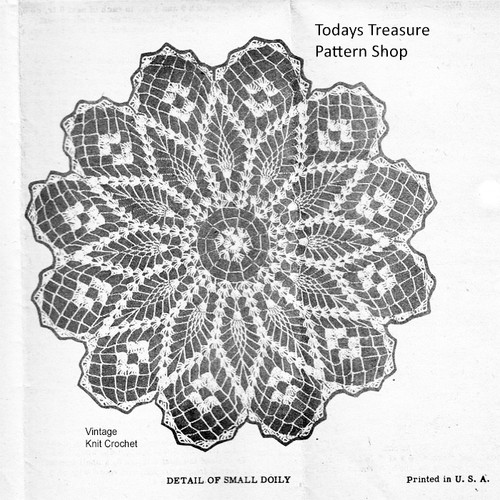 Flower Crochet Doily Pattern, Pineapples, Laura Wheeler 883