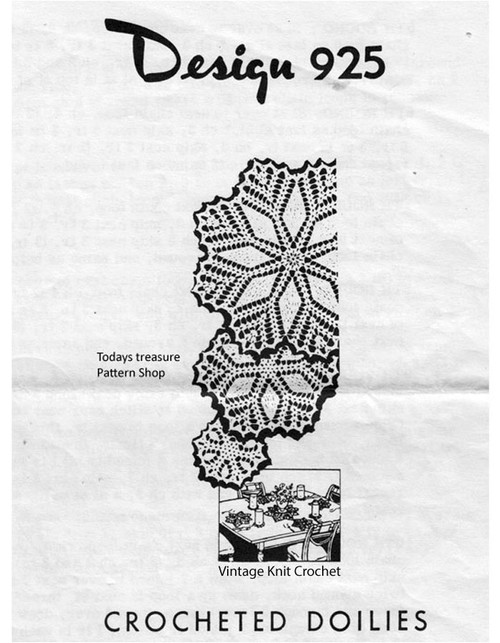 Star Doily Crochet Pattern, Mail Order Design 925