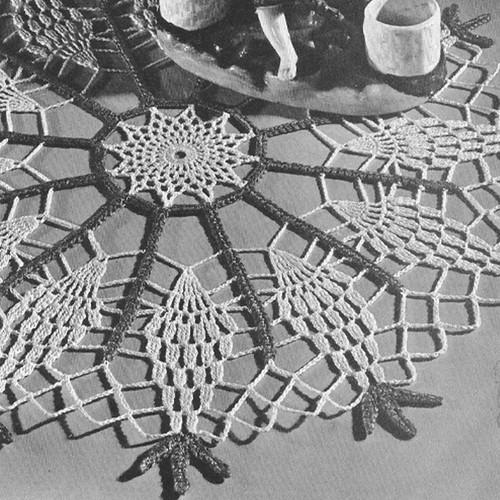 Vintage 1940s Pineapple Wheel Doily Crochet Pattern