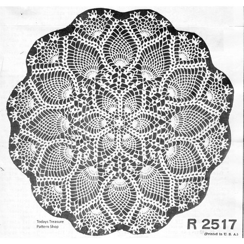 Vintage Pineapple Doily, Shell Border Pattern No R-2517