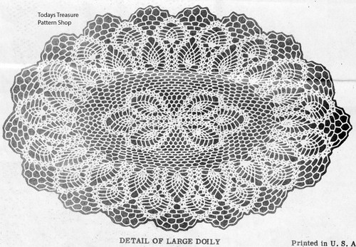 Oval Pineapple Doily Crochet Pattern Detail