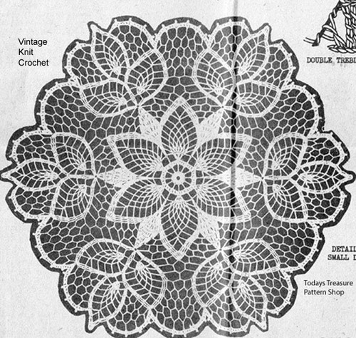 Crocheted Flower Doily Pattern, Pineapple Stitch, Design 7147