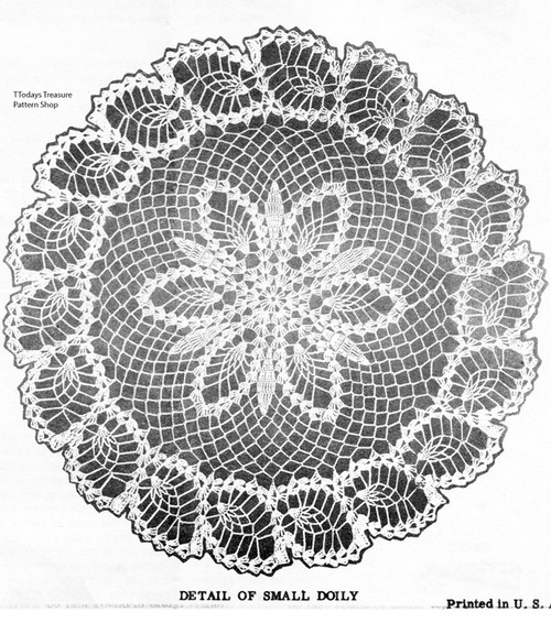 Pineapple Border Crochet Doily Pattern, Laura Wheeler 628