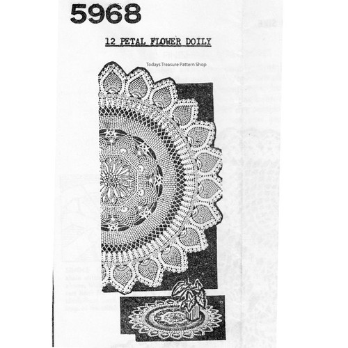 Anne Cabots 5968 Pineapple Flower Crocheted Doily pattern