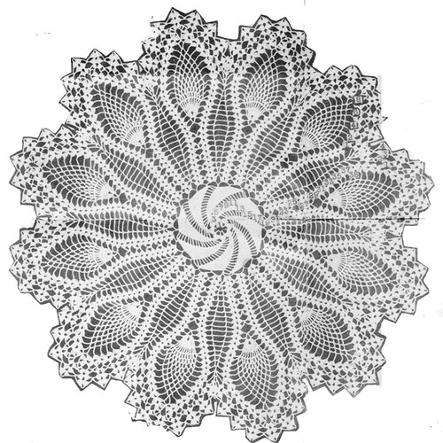 Vintage Pinwheel Crocheted Doily pattern, Mail Order E-1109