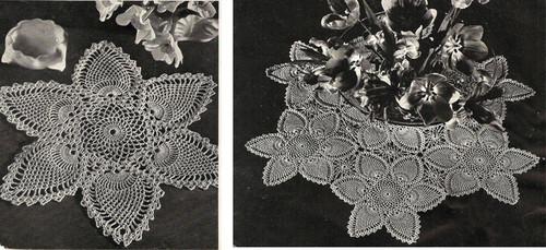 Crocheted Pineapple Centerpiece Doily pattern, Vintage 1940s