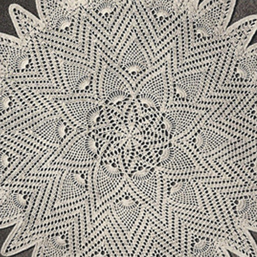 Pineapple Sunburst Crochet Doily Pattern is 20 inches.