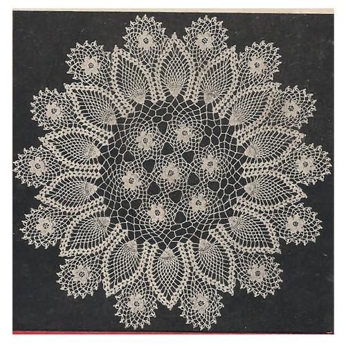 Vintage Crochet Pineapple Doily with Flower Border Pattern