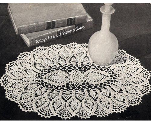 Large Oval Pineapple Doily Crochet Pattern