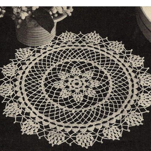 Pineapple Star Doily with Crochet Flower Border