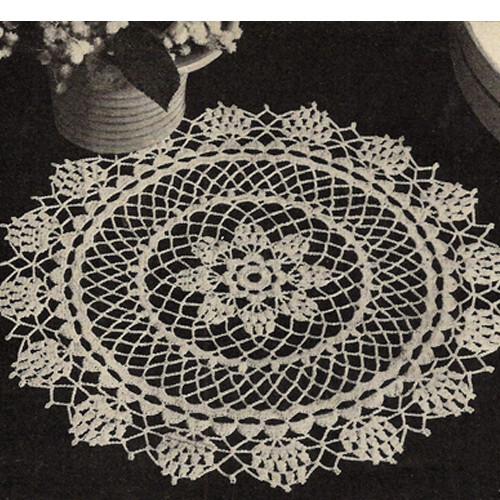 Pineapple Star Doily with Crochet Flower Border
