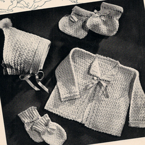 Crocheted layette with pixie hat pattern