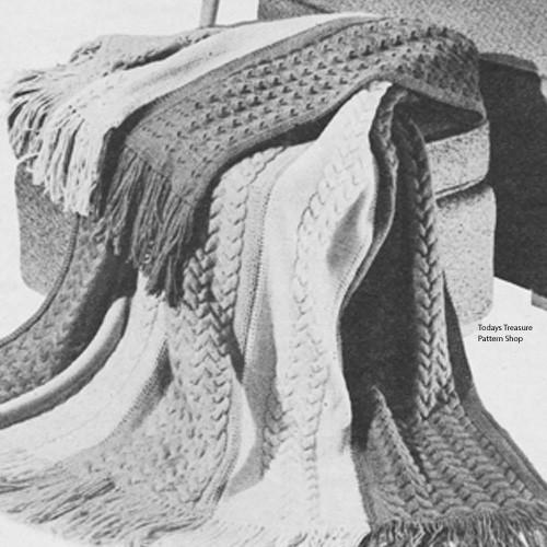 Vintage Knitting Pattern for Afghan in Wide Color Stripes
