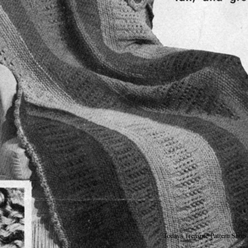 Wide Stripes Afghan Knitting Pattern