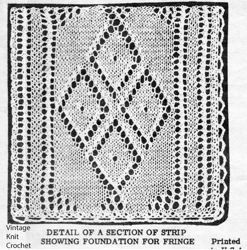 Knitted Diamond Strip Pattern for bedspread Design 2861