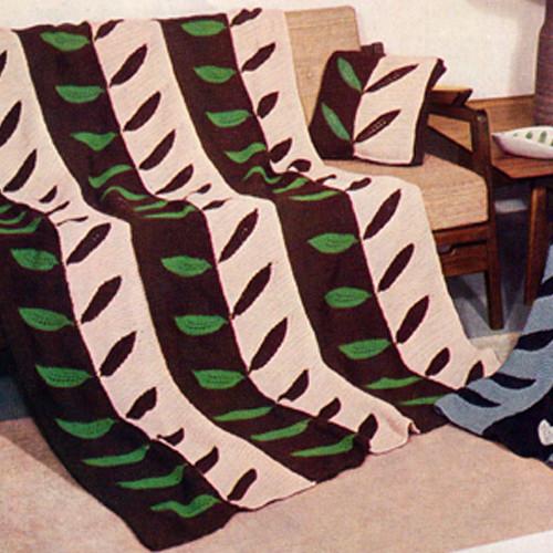 Knitted striped afghan with Laurel Leaf Panels, Vintage 1940