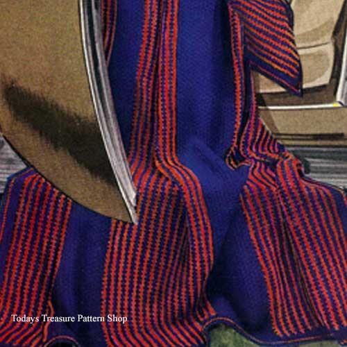 Knitting Pattern Regimental Afghan Pattern