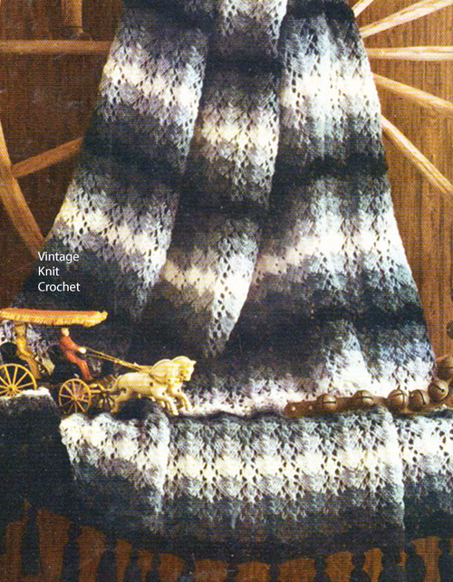 Easy Striped Afghan Knitting Pattern No 742-16