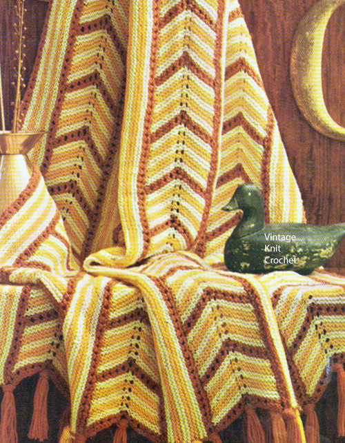 Knitted Garter Stitch Afghan Pattern No 742-15