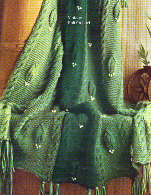 Knitted Leaf Motif Blanket Pattern No 742-14
